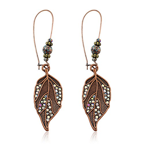 CHOA Vintage Leaf Dangle Earrings - Green Bronze Engraving Dangle Hook Earrings For Women And Girls - Flower Bronze Earrings