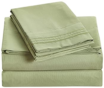 Bluedotsky Bedding - 1800 Platinum Collection - Breathable and Silky Soft - 100% Microfiber Bed Sheet Set - Hypoallergenic - Dust Mites Resistant - Extra Deep Pockets - 4 Piece - Queen, Sage