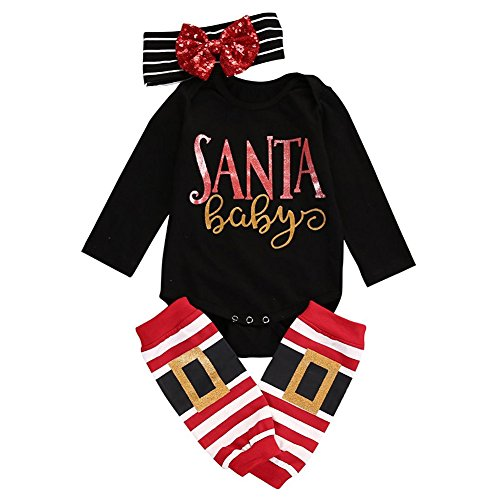 GRNSHTS Baby Girls Boys 3Pcs Christmas Sequins Outfits Long Sleeve Romper + Headband + Leg Warmer (70/0-6 Months, Santa Babys) for $<!--$8.39-->