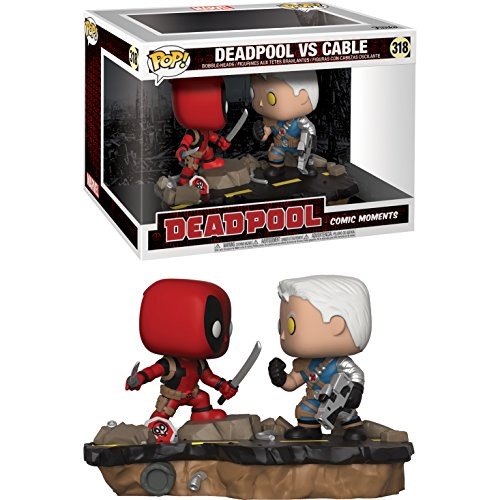 (Funko Deadpool vs Cable: Deadpool x POP! Comic Moments Vinyl Figure + 1 Official Marvel Trading Card Bundle)