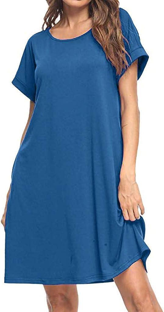 LQJstore Womens Plain Summer O Neck Short Sleeve Casual Loose Solid Pockets T Shirt Dress