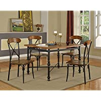 Baxton Studio 5 Piece Broxburn Wood and Metal Dining Set, Light Brown
