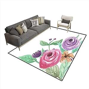 Amazon.com: Anti Skid Rugs Watercolor Corner Pink Purple
