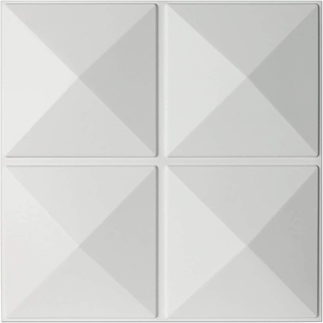 Art3d Eco 3D Wall Panels Textured Design Board, White, 12 Tiles 32 Sq Ft