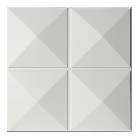 Art3d Eco 3D Wall Panels Textured Design Board, White, 12 Tiles 32 Sq Ft