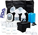 Megna Double Electric Breast Pump: Portable Dual Digital Breast Feeding Pump w/ Easy To Read LCD Display. FDA Approved, BPA Free