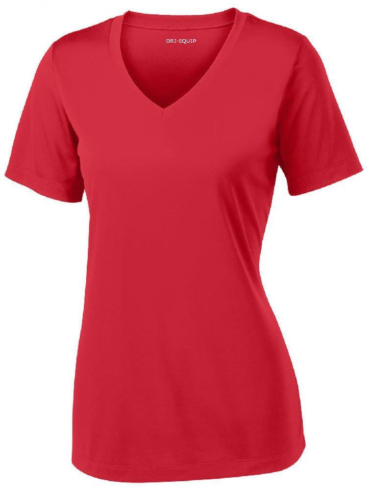 Joe's USA Women's Short Sleeve Moisture Wicking Athletic Shirt-Red-3XL by Joe's USA