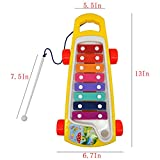 Kids Push Pull Toys Colorful Eight Tones and Trailer Guy Struck with the Function of Toddlers Baby Educational Serinette Toddler Plastic Walking Walker Toy Drawstring Trailer-1pc,Random Color