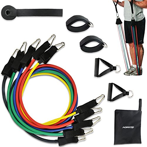 Resistance Band Set, MORECOO Exercise Band with Door Anchor, Ankle Strap, Handhes for For Resistance Training, Physical Therapy, Home Workouts