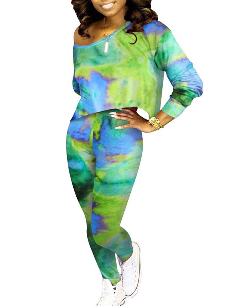 Women Club 2 Piece Outfit Tie Dye Off Shoulder Loose Crop Top Long Pants Rompers Set Clubwear Green L by NVXIYYA