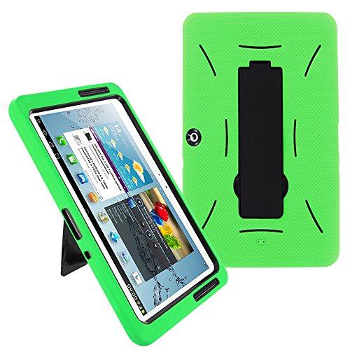 Galaxy Tab 2 10.1 Case KIQ (TM) Heavy Duty Hybrid Silicone Skin Hard Plastic Case Cover w/Kick Stand for Samsung Galaxy Tab 2 10.1 P5100 (Black/Green)