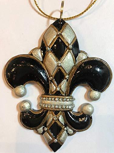 HRS Black and Gold Fleur de Lis Harlequin Mardi GRAS Christmas Holiday New Orleans Saints Ornament
