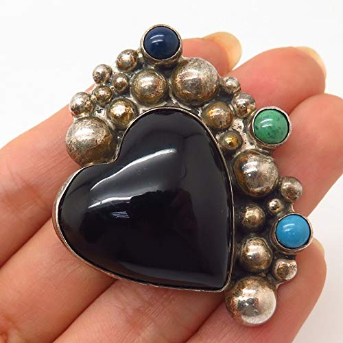 VTG Mexico Sterling & Multi-Color Gem Caviar Design Heart Pin Brooch/Pendant ()