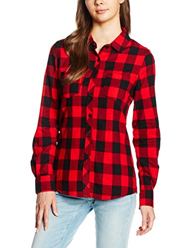 Urban Classics Damen Ladies Turnup Checked Flanell Shirt Hemd, Mehrfarbig (negro / rojo 44), M