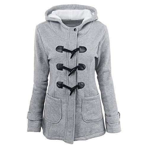 Monocromo Stile Modern Coat Invernali Anteriori Giaccone Abbigliamento Cerniera Lunga Manica Cappuccio Outwear Tasche Moda Calda Donna Giacca Hellgrau Con qa4wZSq0