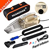 Image of Car Vacuum Cleaner,4 in 1 Handheld Vacuum--Portable Vacuum HUANZHAN Wet/Dry DC 12V 100W 3800 Pa High Power Car Vacuum Cleaner,With Tire Inflator,Tire Pressure Gauge ,Floodlight - Upgraded(Gold)