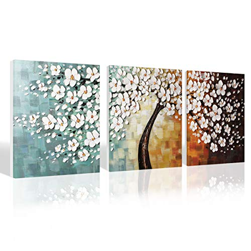 Watercolor Handmade Flower Oil Painting Canvas Paint Artwork Wall Art for Office Bathroom Decorative Decoration Modern Contemporary Floral Picture Poster Home Decor Frameless,Unframed,16 x24 x3,Blue