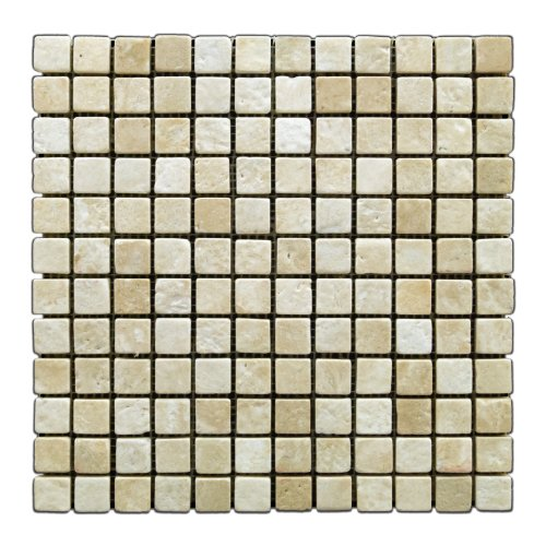 Durango Cream 1 X 1 Tumbled Travertine Mosaic Tile - 6 X 6 -