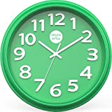 Analog Wall Clock with Anti-Scratch Plexi Glass Cover, Green with White Easy-to-Read Numbers, Silent Quartz - by Office Style