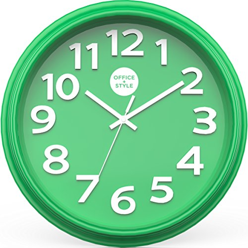 """Office + Style 13"""" Silent Quartz Color Wall Clock with Anti-Scratch Cover- Green from Office Style"""