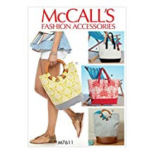 McCall Pattern Butterick M7611-Osz Misses' Lined Tote Bags with Contrast Variations, One Size