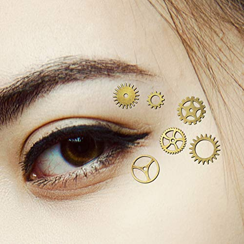 Punk Makeup For Halloween (Steampunk Eye Decals Steampunk Eye Costume Steampunk Clothing Accessories Gothic Eye Decals Women Girls Dress Up Steampunk Gears for Halloween Punk Party (48)