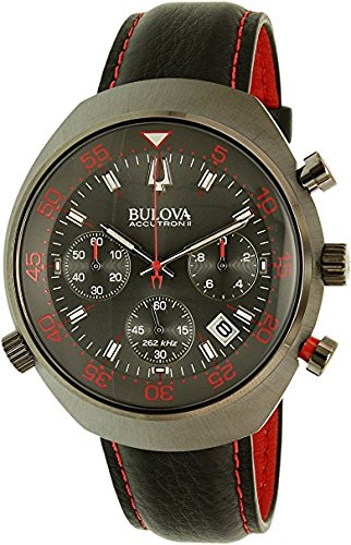 Bulova Mens Black Strap Red Accented Watch 98B252