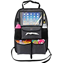Backseat Car Organizer for Kids Toys & Baby Wipes with X-Large iPad Tablet Holder + BONUS HOOK, Luxury durable fabric, plenty of storage, firm fit, easy to install, kick mat protector for back of seat