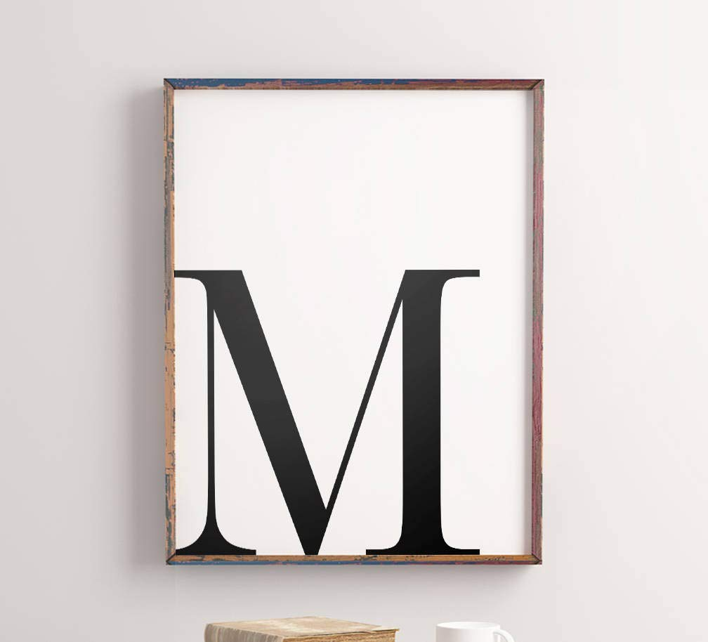 Amazon Com Letter M Wall Art Alphabet Initial M Letter Word