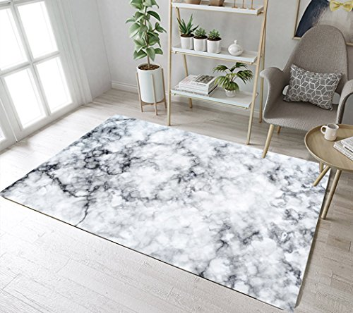 - LB White and Grey Marble Rug 3D Printing Abstract Marble Ink Texture Area Rug for Living Dining Room Bedroom Carpet Mat Non Slip Runner Mat 4'x5'3''