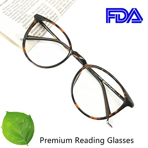 Reading Glasses 0.75 Tortoise Round Reader Eyeglasses Frames for Women, Light Weight Glasses
