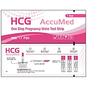 AccuMed 25-Count Pregnancy (HCG) Test Strips, Clear and Accurate Results, FDA Approved and Over 99% Accurate - EXPIRES 03/2019