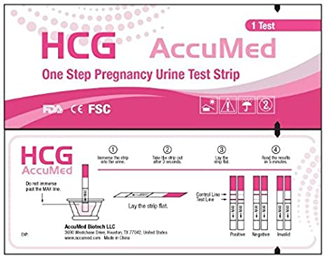 AccuMed Pregnancy Test Strips, 25-Count Individually Wrapped Pregnancy  Strips, Early Home