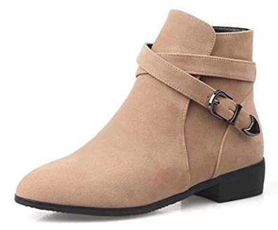 Women's Fashion Solid Suede Round Toe Zipper Low Heel Gladiator Ankle Boots
