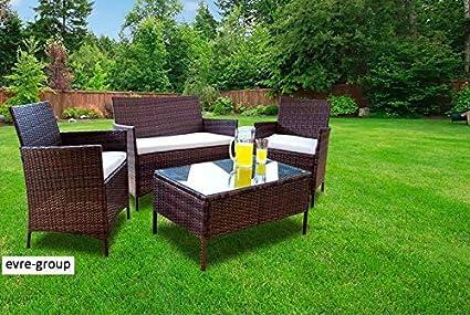 Set di mobili da giardino in rattan per patio esterno veranda e