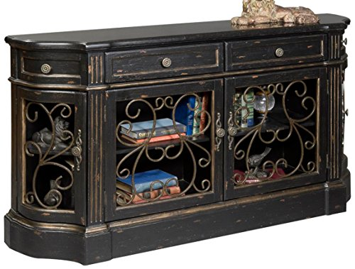 (Pulaski Savannah Credenza, 62 by 14 by 34-Inch, Black/Metallic)