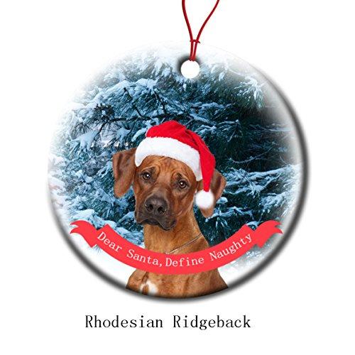 Xmas Ornaments Ceramic Flat Round Snowflakes Santa Dog Rhodesian Ridgeback Custom Tree Branch Hanging Decoration for Holiday Season ()