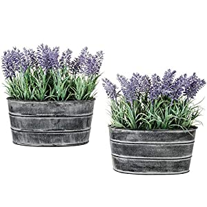 MyGift Decorative Artificial Lavender Flower Plants in Rustic Metal Pots, Set of 2 56