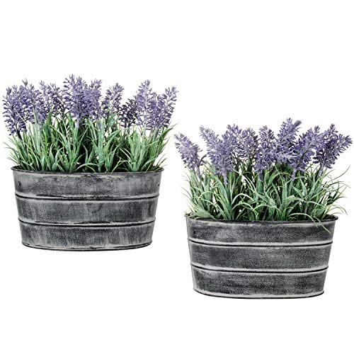 MyGift Decorative Artificial Lavender Flower Plants in Rustic Metal Pots, Set of 2