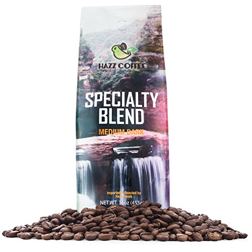 Hazz Coffee Fresh Medium Dark Roast Coffee(Specialty Blend) Whole Bean, 1 pound.