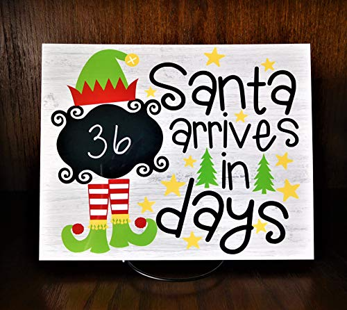 Santa Claus Countdown Sign - Santa is Coming Kids Count Down Sign - Elf Christmas Decoration - 8
