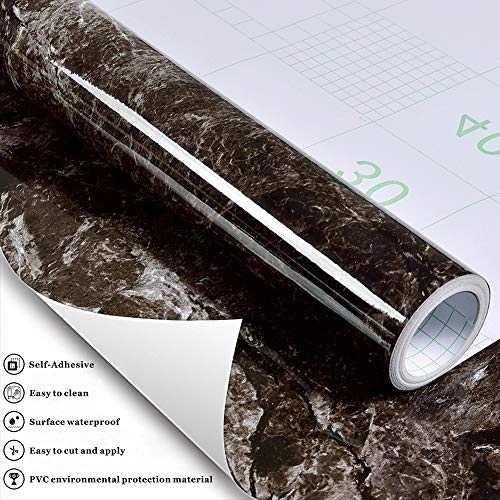 Z405 Look Gloss Marble Contact Paper Dark/Gray Granite Effect Vinyl Self  Adhesive Peel Stick Wall Murals Kitchen Countertop Cabinet Furniture