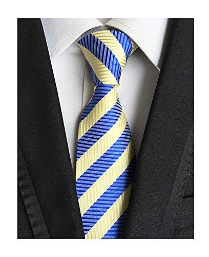 Secdtie Men's Classic Striped Orange Blue Jacquard Woven Silk Tie Formal Necktie (One Size, Blue Yellow)