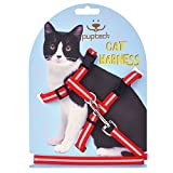 PUPTECK Reflective Adjustable Cat Harness Nylon Strap Collar with Leash Red