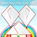 Mint's Colorful Life Design Your Own Kites for Kids Kite Game Party Favor Pack, Diy Blank White Kite Set,Painting and Coloring Their Own Creation. 2 Diamond Kites and 1 Triangel Kite,3pcs