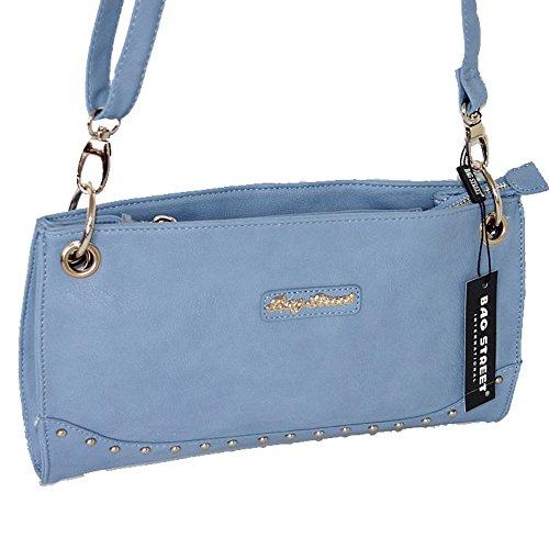 BAG STREET elegante Tasche Damentasche Schultertasche Clutch Abendtasche Shopper Bag blau- by Beauty-Butterfly24