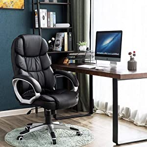 SONGMICS Office Executive Swivel Chair with 76 cm High Back Large Seat and Tilt Function Computer Chair PU Black…
