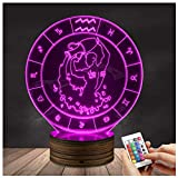Novelty Lamp, 3D LED Lamp Optical Illusion Aquarius Night Light, USB Powered Remote Control Changes The Color of The Light, Infant and Children's Home Bedroom Decoration Gifts,Ambient Light