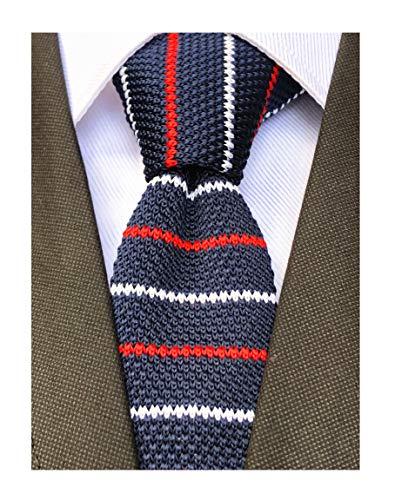 - Men's Knitted Neck Tie Accessory Formal Necktie Navy Blue Red White Swiss Stripe Skinny Knit Tie For Groom