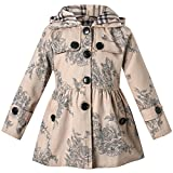 Long Sleeves Vintage Floral Print Chino Cotton Hooded Hoodie Trench Coat Outerwear Windbreaker for Little Girls & Big Girls, B-Khaki, Age 5T-6T (5-6 Years) = Tag 130